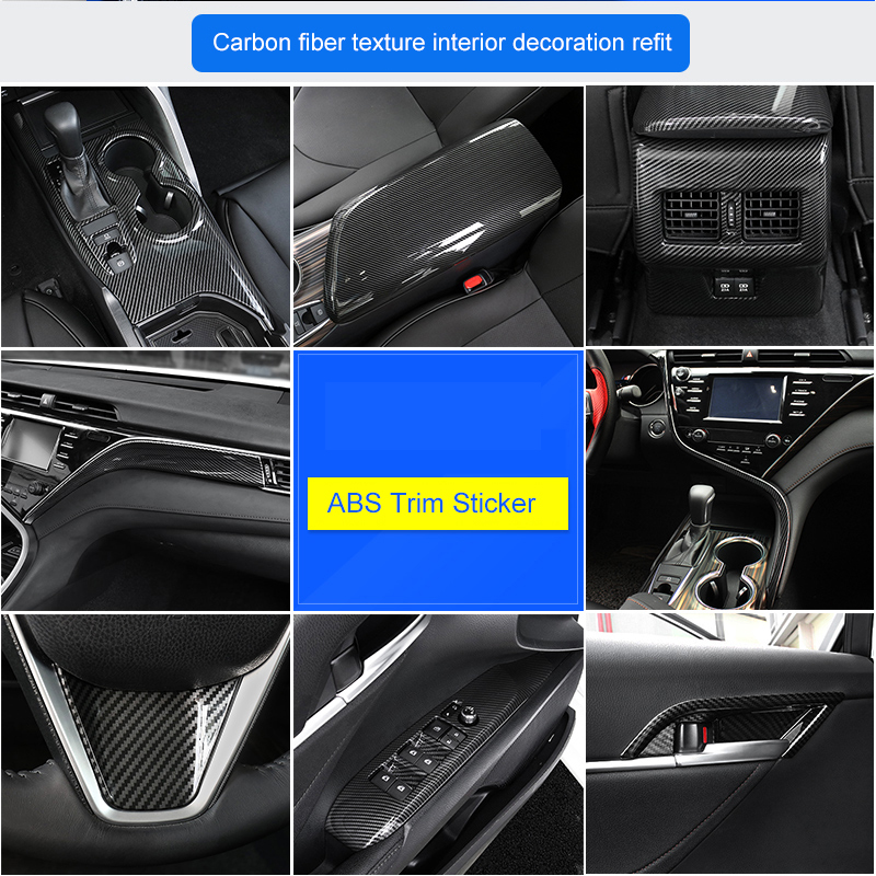 QHCP ABS Armresr Box Cover Center Console Copilot Dashboard Trim Stickers Steering Wheel Trim Sticker Fit For Toyota Camry 2018