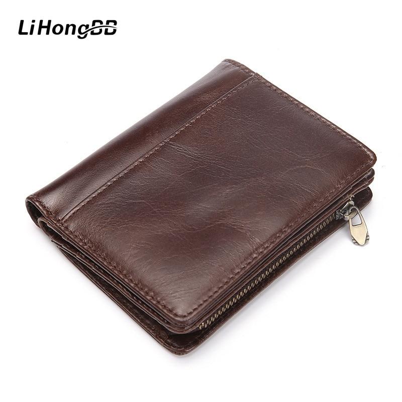 Casual Genuine Cowhide Leather Men Wallet Short Coin Purse Small Vintage Design Wallet Zipper Bifold Wallet Card Photo Holder wallet