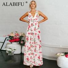 0d44fffa6c276 ALABIFU Uzun yaz elbisesi Kadın 2019 Seksi Backless Parti Elbise Rahat  Şifon Baskı Çiçek Maxi Elbise Beyaz Vestidos ukrayna 2XL