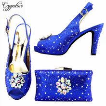 Capputine New Arrival Rhinestone Shoes And Bag Set Italian Elegant Ladie High Heels Shoes And Matching Bag Set For Wedding