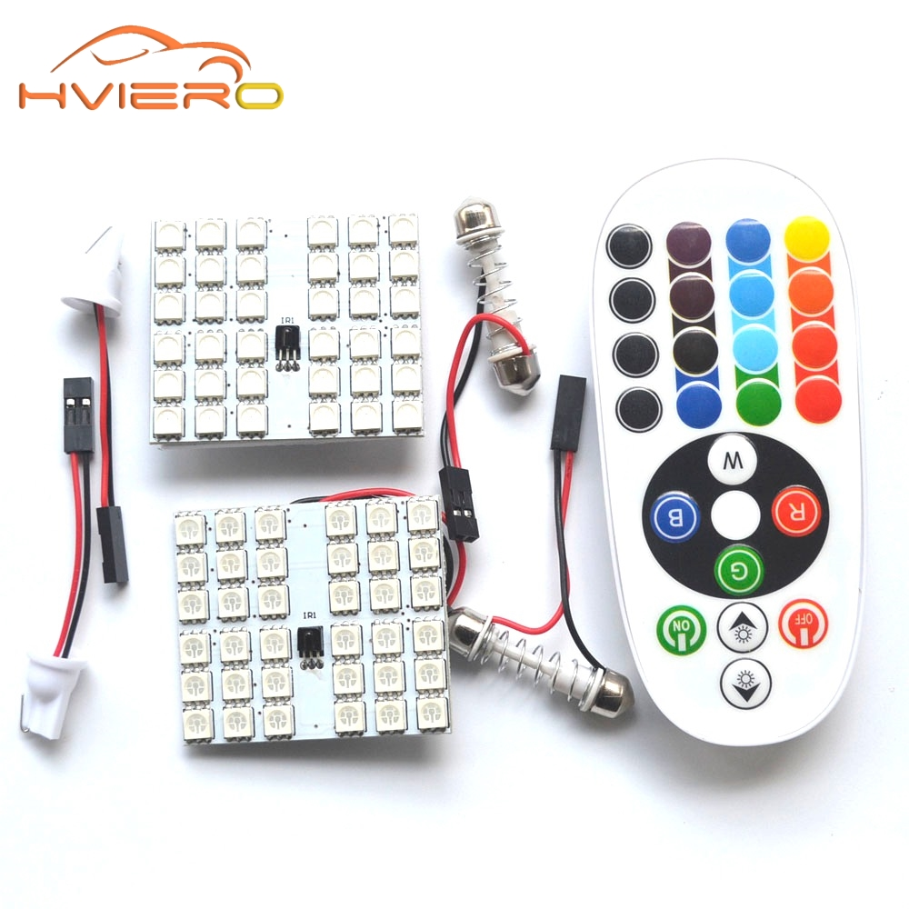 T10 RGB 5050 12SMD Car Led remote control Rgb car led panel interior Auto lights Reading Dome Festoon BA9S Adapter DC 12v Light