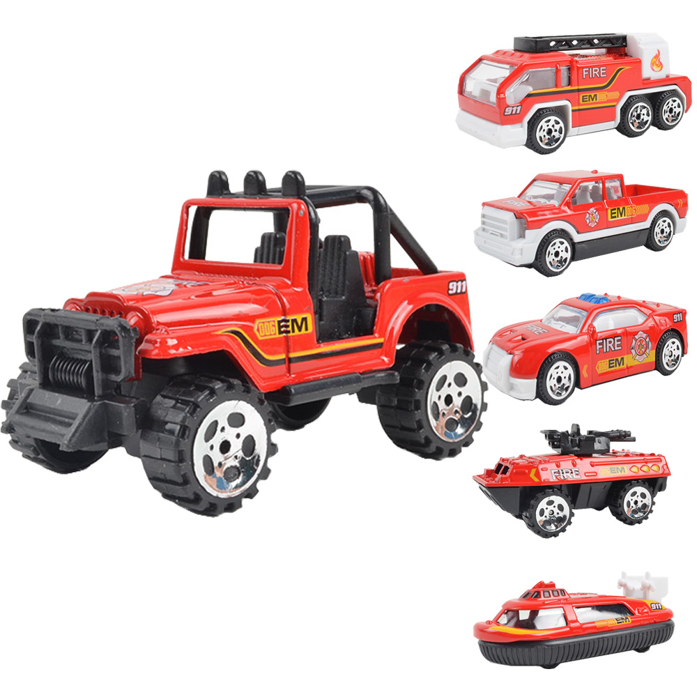 6pcs Mini Toy Vehicles Collections Fire Rescure Military Trucks Toys