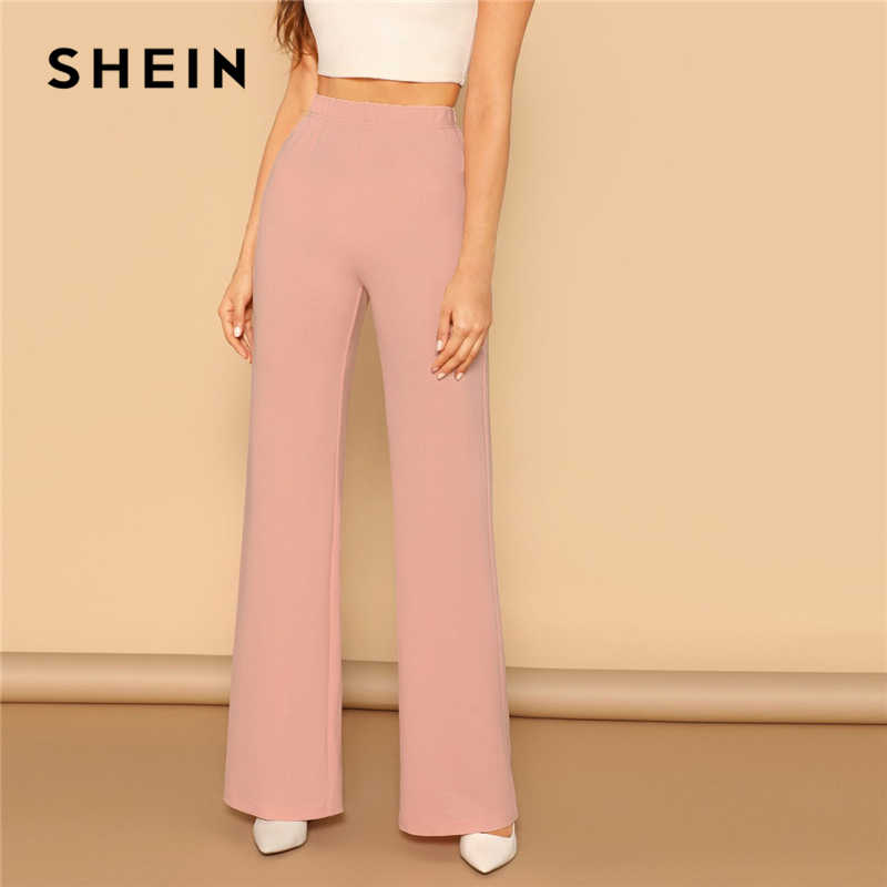 59fe784a71 SHEIN Pink Elastic High Waist Straight Leg Solid Long Pants Women Trousers  Office Lady Spring Elegant