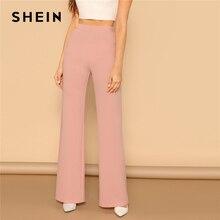SHEIN Pembe Elastik Yüksek Bel Düz Bacak Katı Uzun Pantolon Kadın Pantolon Ofis Lady Bahar Zarif Tulum Geniş Bacak Pantolon