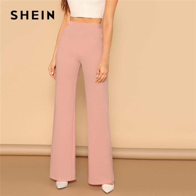 SHEIN Pink Elastic High Waist Straight Leg Solid Long Pants Women