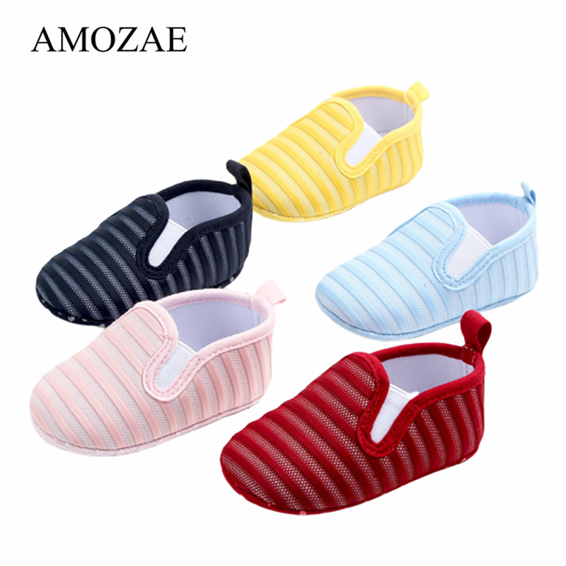 Newborn Baby Girls Boys Shoes Spring Summer Striped Breathable Anti-Slip First Walkers Shallow Soft Soles Mesh Sneaker Shoes