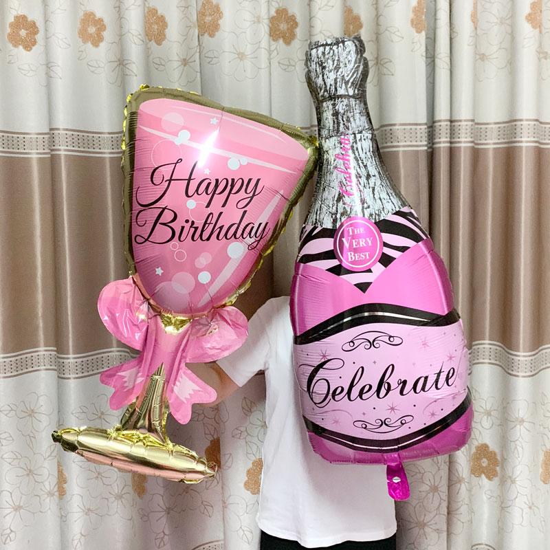 Duży balon z helem szampan czara balon ślub dekoracje na imprezę urodzinową dla dorosłych dzieci balony Globos Event Party Supplies.