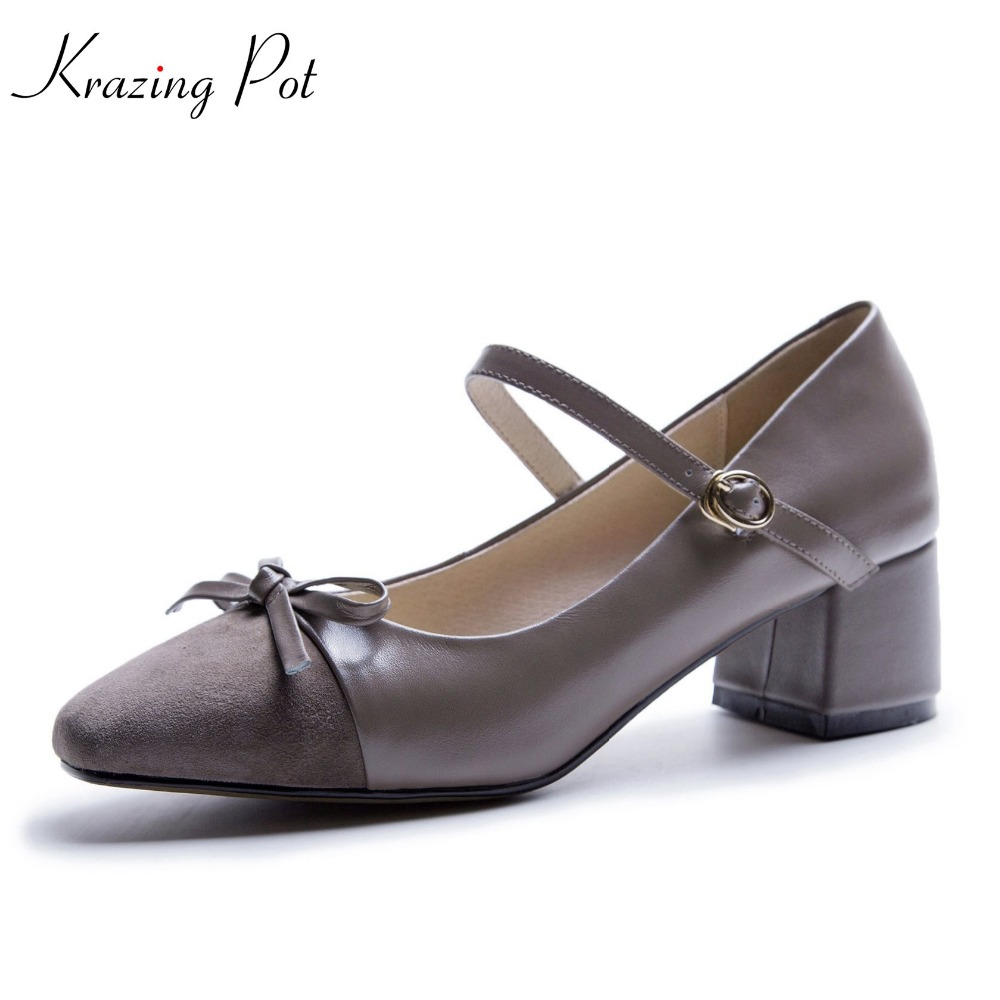 Krazing pot fashion round toe ankle buckle straps Butterfly knot women sandals cow leather med heels simple summer shoes L3f2 2018 new popular gladiator style cow leather peep toe ankle straps fashion women med heel sandals summer brand causal shoes l80