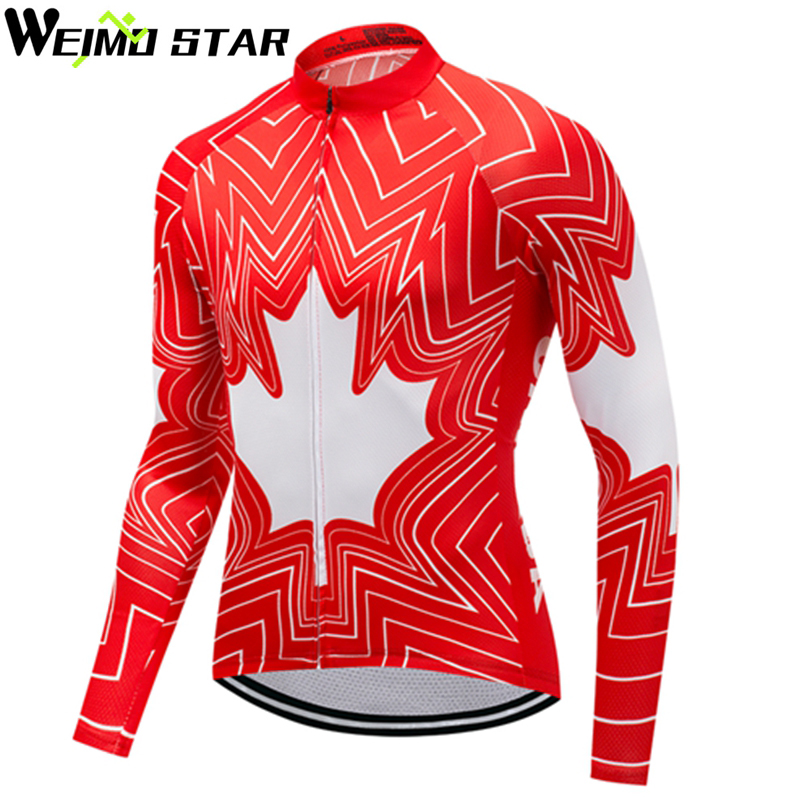 WEIMOSTAR Team Outdoor Riding Mens Cycling Jersey 2018 Long Sleeve MTB Clothing Ropa Ciclismo Maillot Bicycle Clothing Red