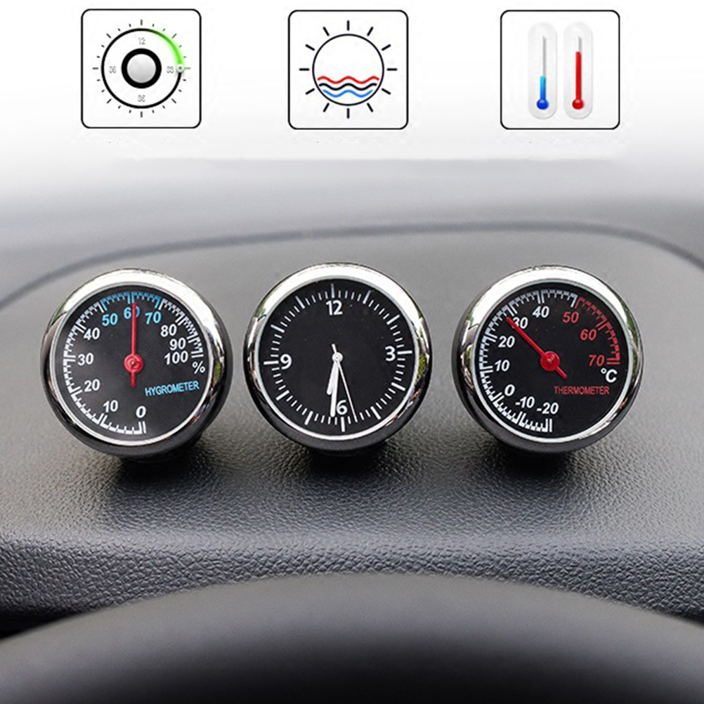 3pcs/set Electronic Car Thermomete Clock Luminous Mechanical Clock Thermometer Hygrometer Steel Core voiture Car Accessories