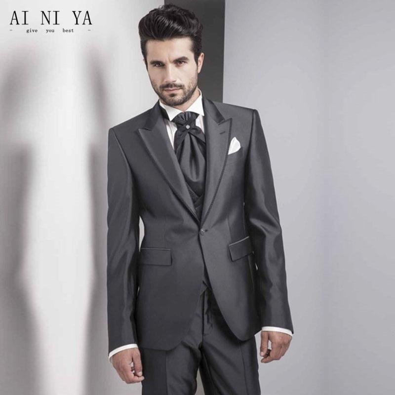 Charcoal Men s Suits Formal Business Shiny Best Man Suit Casual Groomsman 3 Piece Suit Blazers