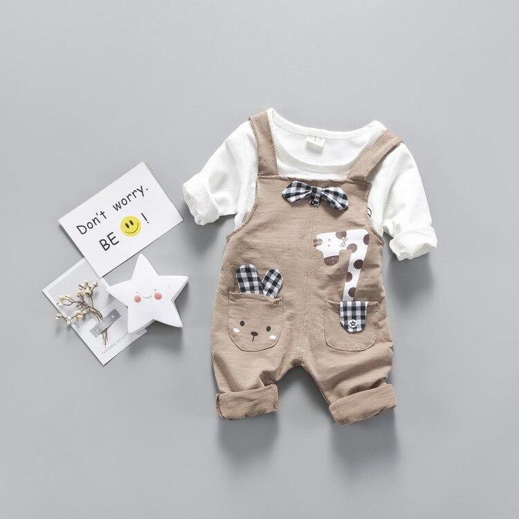 Nnilly 2018 Spring Autumn Favourite Kids Clothes Costume For Boy Girls Clothing Set T-shirt+Pants 2pcs/set Bib Print Cartoon