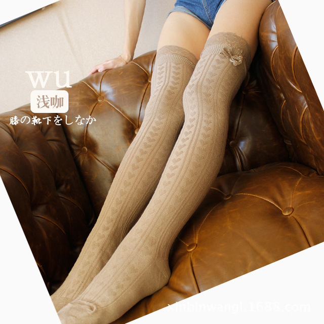 Hot 2017 NEW Fall Winter lace bow 6 Colors Fashion Sexy Thigh High Over The Knee Socks Long Cotton Stockings For Girls Ladies