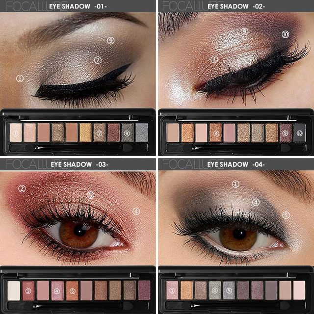 Focallure 10Pcs Makeup Palette Natural Eye Makeup Light Eye Shadow Makeup Shimmer Matte Eyeshadow Palette Set 2
