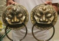 10 Chinese Exorcise Evil Bronze Copper Guard Lion Head Mask Statue Knocker Pair B0403