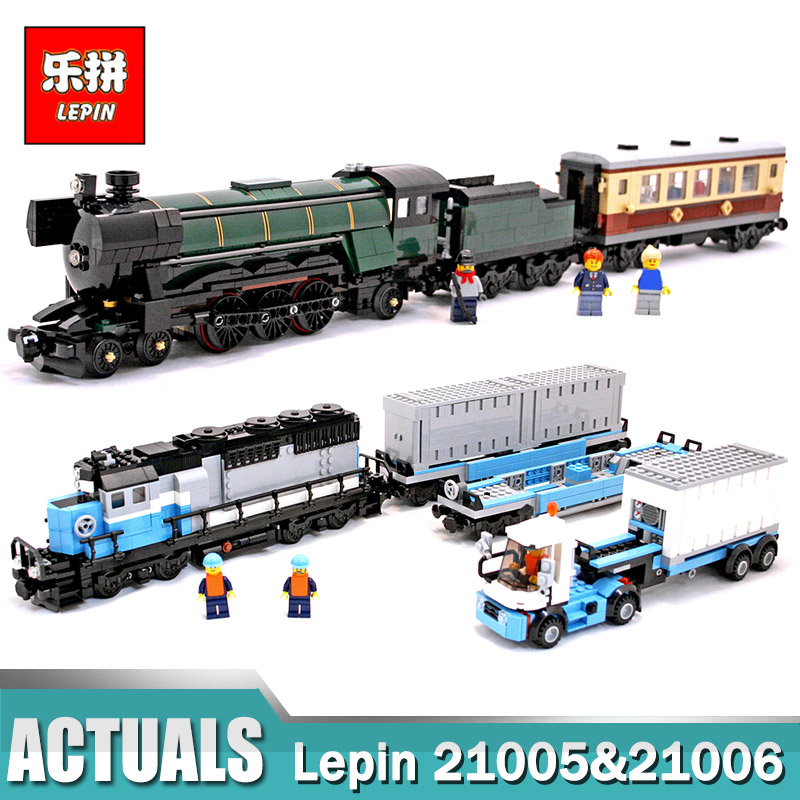 LEPIN 21005 Emerald Night Train Expert +LEPIN 21006 Maersk Train Building Block Toys Compatible LegoINGlys 10194 10219 Train