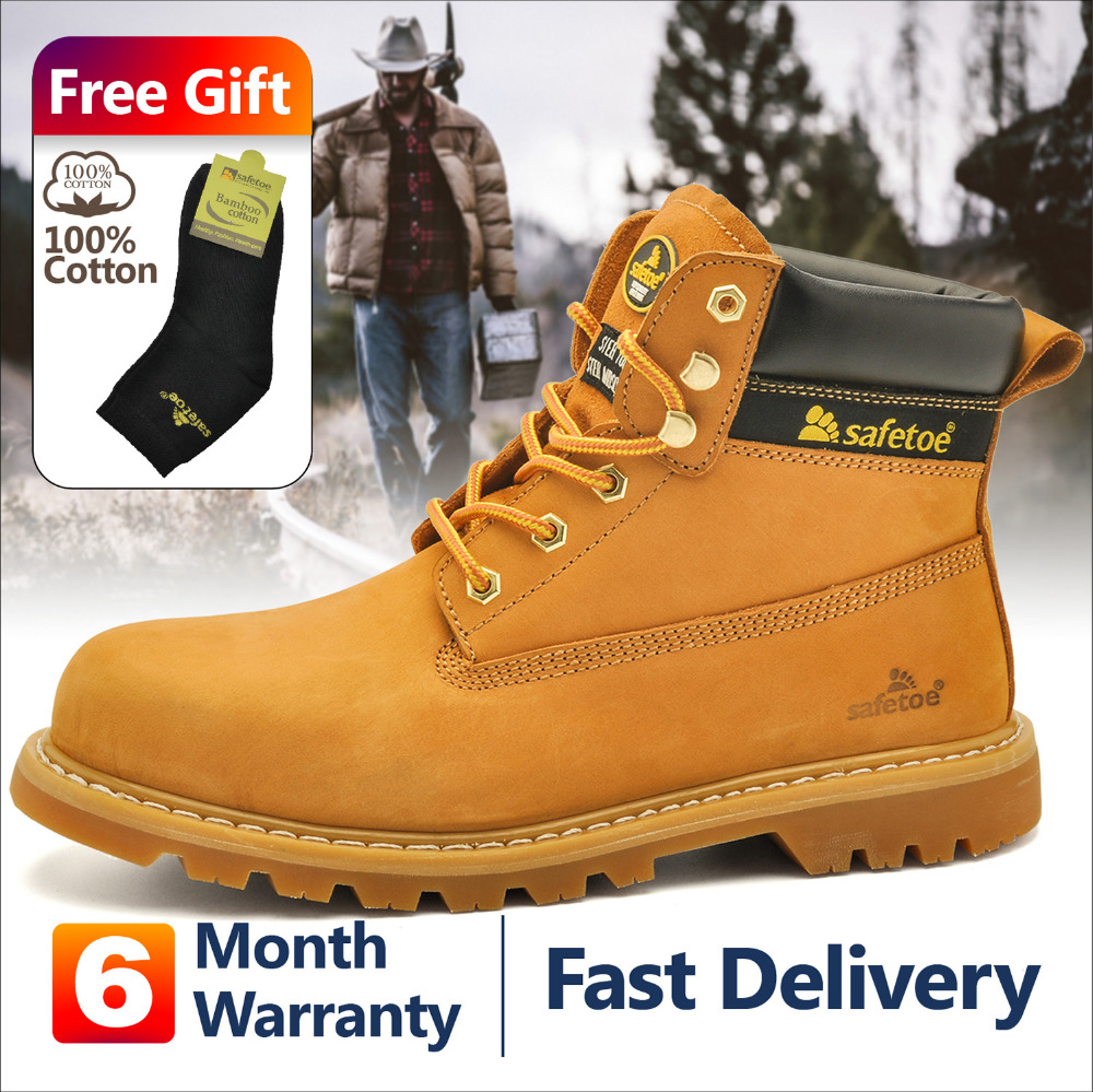 Safety Work Style Men Shoes Yellow Lace Up Steel Toe Cap Cow Leather Nubuck Boots Comfortable