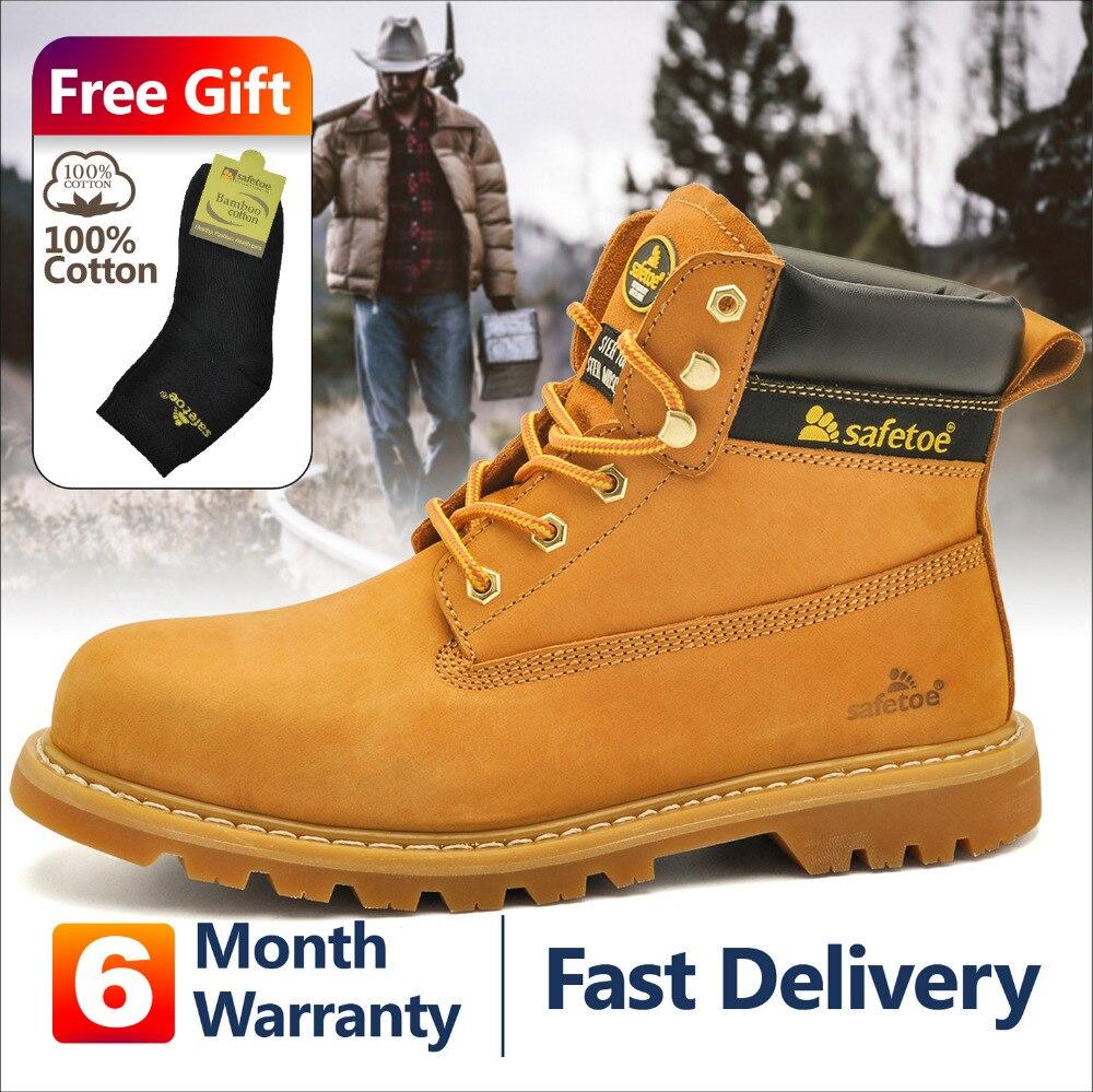 Zapatos de hombre de estilo de trabajo de seguridad con cordones amarillos con puntera de acero botas de cuero de vaca nobuck cómodo resistente al agua Tipo.-in Botas de seguridad y de trabajo from zapatos    1