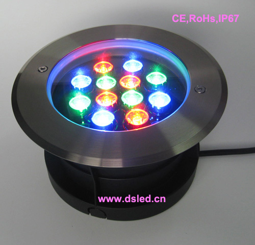 Free shipping by DHL IP68,high power 12W RGB LED underground light,RGB LED recessed light,stainless steel,12V,DS-11S-09-12W-RGB