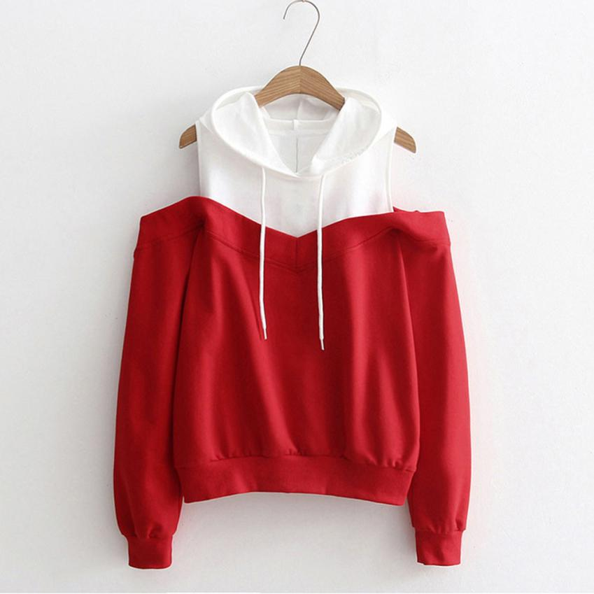 Feitong Womens Patchwork Sweatshirts Hoodie Sexy Cold Shoulder Long Sleeve Sweatshirt Hooded Pullover Tops Jumper sudadera mujer 1