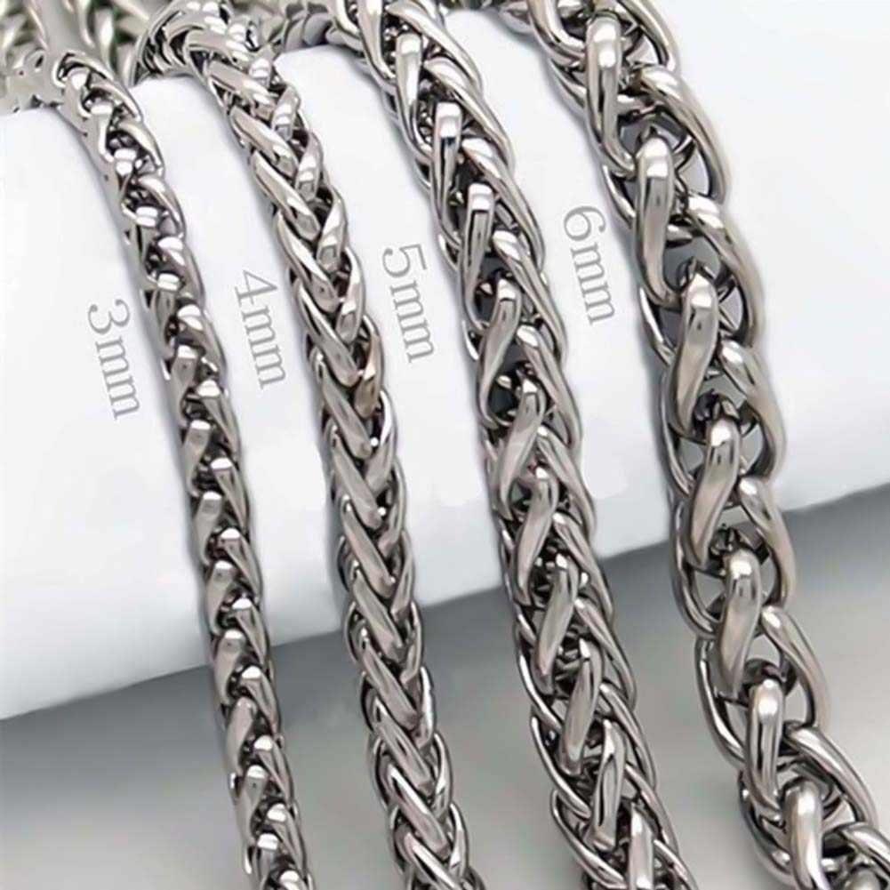 Mężczyźni pleciony pszenica kształt łańcuch ze stali nierdzewnej naszyjnik DIY biżuteria akcesoria trwałe łańcuch ze stali nierdzewnej dla DIY naszyjniki