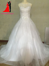 New Illusion Ball Gown Wedding Dresses 2017 Vestido De Noiva Tulle Plus Size Wedding Bridal Gown Bow Court Train Robe de mariee