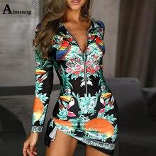 Aimsnug 2019 Long Sleeve Fashion Women Floral Print Mini Dress Office Ladies Sheath Bodycon Sexy Zipper Elegant
