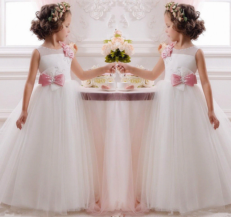 First Communion   Dresses   For   Girls   White   Flower     Girls     Dresses   For Wedding Lace   Girl   Birthday Party   Dress   Tulle Pageant Dres