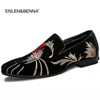2017 Men shoes handmade luxurious Flower embroidery men velvet shoes Men dress shoes Banquet and Prom Men loafers zapatos hombre