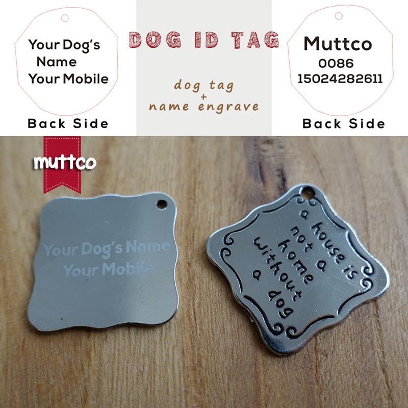 wholesale laser lettering kirsite alloy self-design dog pet tag DIY letter square dog id tag carve dogs name and tel DIT-003-3