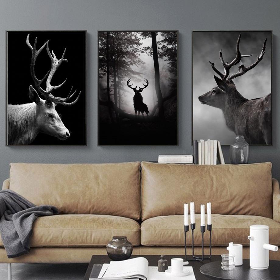 5d mosaico bordado floresta de cervos preto e branco, furadeira redonda, faça você mesmo, pintura em ponto cruz com diamante