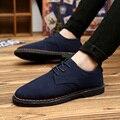 2016 Nueva Primavera/Verano Británico de Moda de La Pu de Cuero Zapatos de Los Hombres Zapatos Casuales hombres Bajos Atan Para Arriba Los Hombres Zapatos Planos de Los Hombres Zapatos Del Barco Mocasines