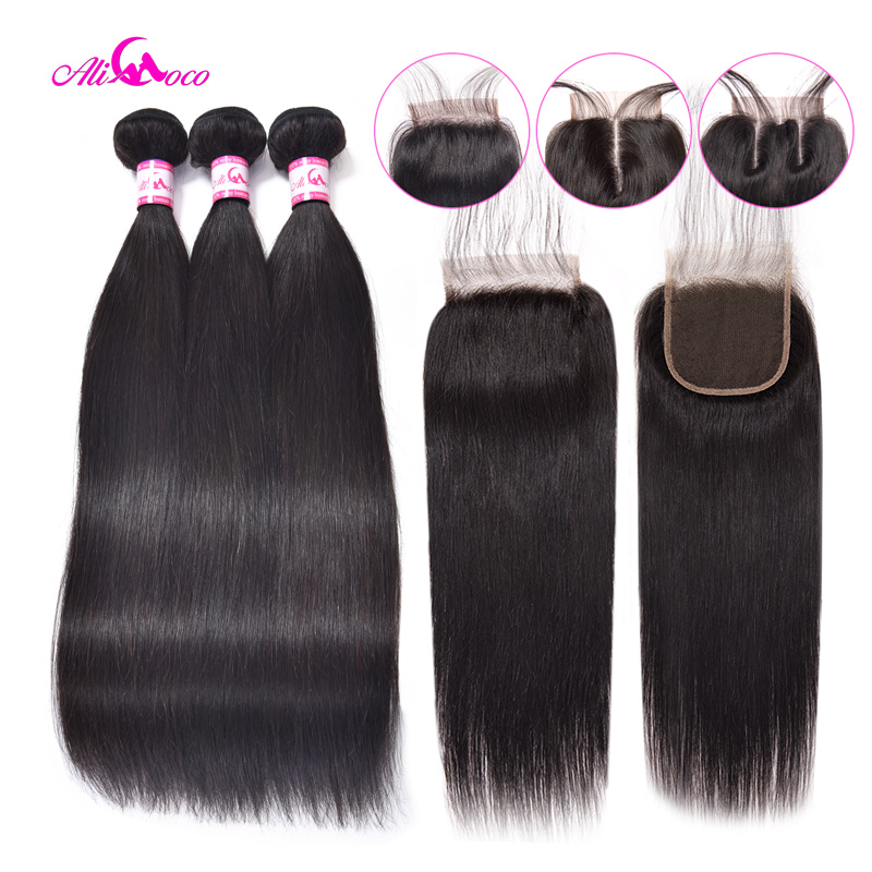 Brazilian Straight Hair With Lace Closure Natural Color/#2/#4/1/4/27/#99 100% Human Hair Bundles With Closure Non Remy Ali Coco