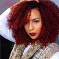 Cabelo Virgem malaio 3 Pacotes Malaio Ombre Encaracolado Kinky Curly Cabelo Weave Barato Grau 8a Ombre Vermelho/Cabelo Loiro extensões