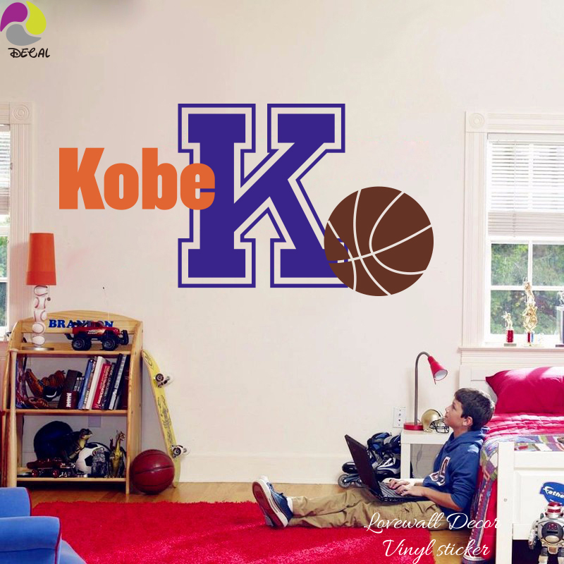 Personalize Boy Name Basketball Wall Sticker Baby Nursery Kids Room Custom Name Sport Ball Wall Decal Vinyl Home Decor Art Mural