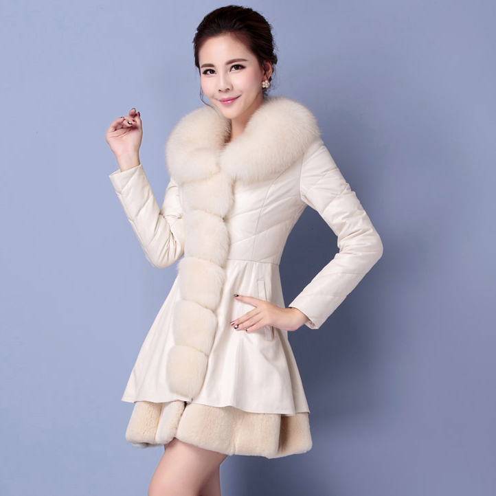 Luxury Faux Fox Fur Collar Parkas 2015 Fashion Women Slim Long PU Leather Coat Winter Jacket Women Plus Size H6061