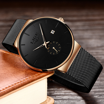 Relojes Hombre LIGE New Mesh Steel Men Watches Top Brand Luxury Ultra-thin Waterproof Quartz Watch Men Casual Sport Quartz Clock dom men watches top brand luxury quartz watch casual quartz watch black leather mesh strap ultra thin fashion clock male relojes
