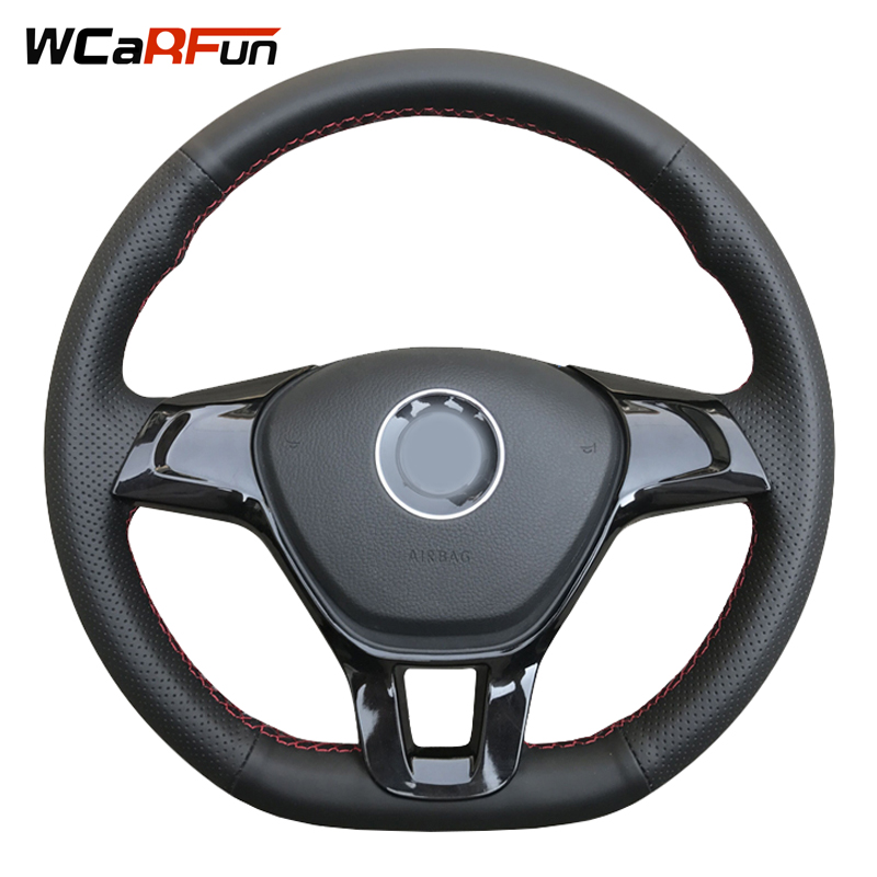 WCaRFun Black Artificial Leather Car Steering Wheel Cover for Volkswagen VW Golf 7 Mk7 New Polo 2014 2015 2016 2017
