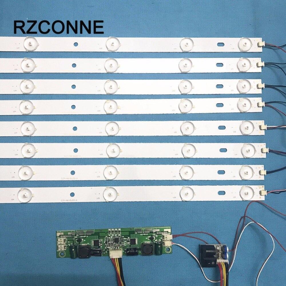 8pcs 440mm LED Backlight Lamps Kit Aluminum Board W/ Optical Lens Fliter For 46inch TV Monitor+driver Board+DC 12V Mini Tester