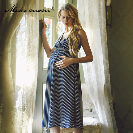 Chiffon Maternity Dress 2016 Summer European And American Sleeveless Loose Clothes  V-neck Blue Striped Long Dress For Pregnant этикетки brother dk22212