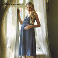 Chiffon Maternity Dress 2016 Summer European And American Sleeveless Loose Clothes  V-neck Blue Striped Long Dress For Pregnant