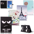 "Cartoon Flower Series with Card Slot Pu leather stand holder Cover Case For Samsung Galaxy Tab4 Tab 4 10.1"" T530 T531 T535"