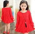 2016 Primavera Nuevas Chicas Coreanas Vestido de Encaje Princesa Gress Calidad Rojo Niñas Adolescente Vestido Vestido de Los Cabritos Para La Edad de 4-15