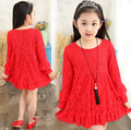 2016 Spring New Korean Girls Princess Gress Lace Dress Quality Red Baby Girls Dress Teenager Kids Dress For Age 4-15