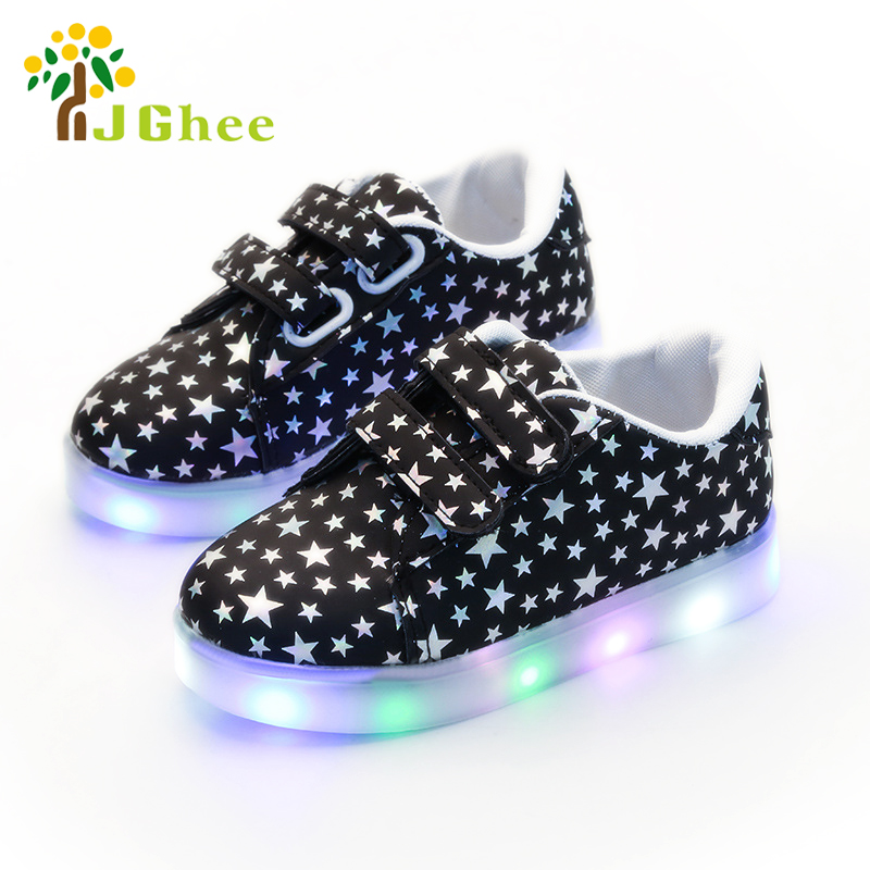 2020 Spring Autumn Kids Shoes Boys Girls LED Lighted Sneakers Children's Casual Canvas Shoes Shiny Stars Soft Fashion