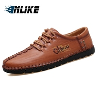 INLIKE Classic Comfortable Men Casual Shoes Loafers Men Shoes Quality Cow Leather Shoes Men Lace up Flats