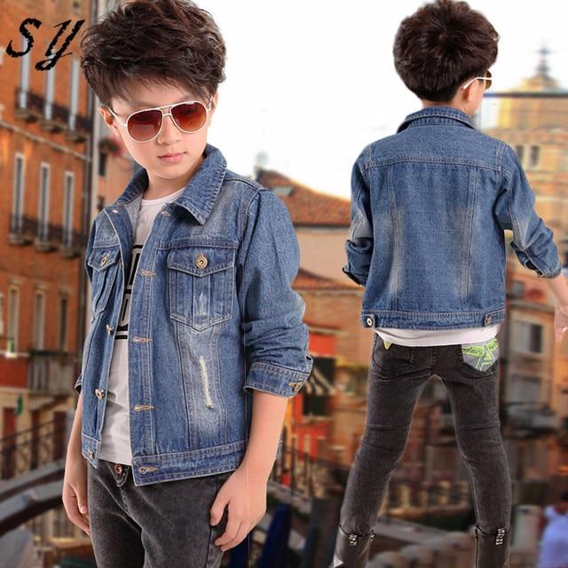 d3d70b9de1f4 cool spring autumn brand denim jaket children kid boy jeans jacket cowboy  style long sleeve pocket denim boy winter outfit