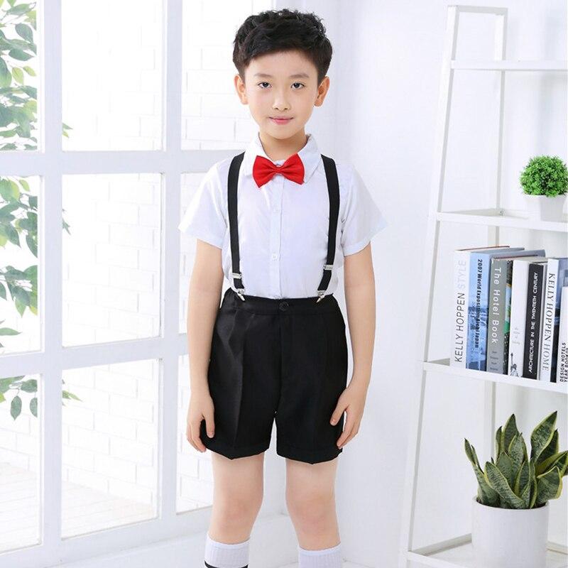 2018 Children Dance Performance Costumes Boys Dress Choir Host Party Children'S Day Chorus Clothing Pants Tie Strap Set