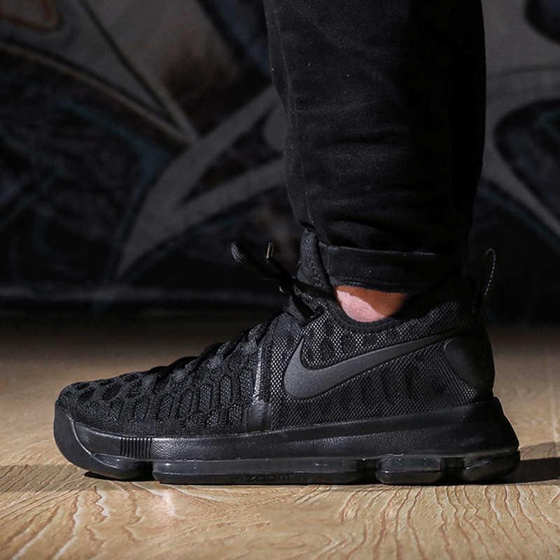 e3672e224e520d ... Оригинальные аутентичные NIKE для мужчин оригинальный Кевин Дюрант  дышащий Черный Спортивная обувь для баскетбольная спортивная обувь