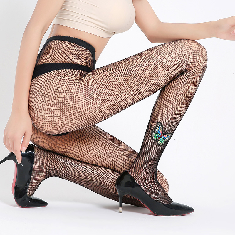 2018 Women Black Fishnet Pantyhose Women Sexy Stocking Lace Nylon Small Net Stockings Calcetines Mujer Butterfly Tights Collant